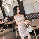 絕版38折 韓系性感包臀亮片網紗包臀無袖洋裝