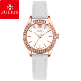 JULIUS 聚利時 六個願望水鑽皮帶腕錶-白色/26mm 【JA-730B】