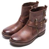 DIANA 質感玩味–俐落帥氣鉚釘繞帶短靴 – 棕★特價商品恕不能換貨★