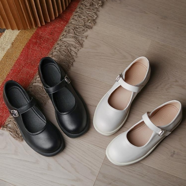 娃娃鞋 jk小皮鞋白色復古圓頭單鞋日系女2021新爆款女鞋英倫淺口瑪麗珍鞋 百分百