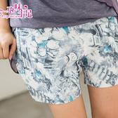 炫麗亮眼燙銀孕婦短褲 藍色【CIC5008】孕味十足 孕婦裝