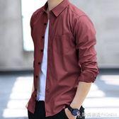 秋季男士襯衫長袖修身牛仔襯衣韓版休閒加絨保暖寸衫衣服冬裝潮流 時尚潮流