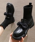 襪靴 彈力靴子女短靴2021秋季新款連襪韓版網紅粗跟休閒蝴蝶結襪子靴秋 韓國時尚週