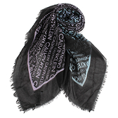 Calvin Klein滿版品牌字母寬版披肩薄圍巾(多彩黑)103264
