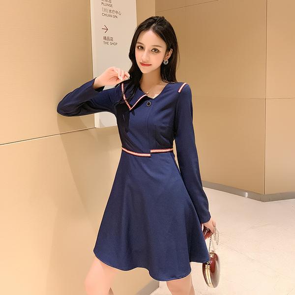 VK旗艦店 韓國風修身氣質名媛時尚長袖洋裝