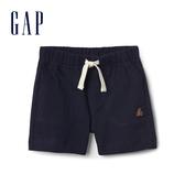 Gap嬰兒 布萊納小熊刺繡純色休閒短褲 229914-海軍藍色