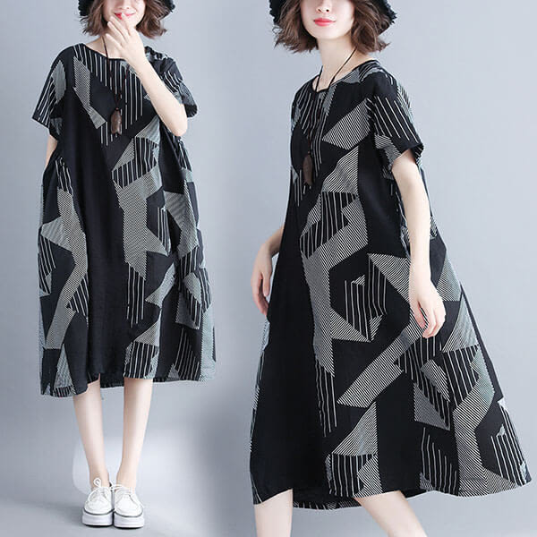 幾何圖案拼接顯瘦洋裝-大尺碼 獨具衣格