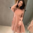 VK精品服飾 韓國風優雅修身名媛荷葉邊針織純色長袖洋裝