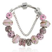串珠手環-粉色甜美琉璃飾品時尚精緻女配件73kc382【時尚巴黎】