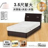 IHouse-經濟型房間三件組(床頭+床底+獨立筒)-單大3.5尺胡桃