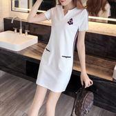 大呎碼洋裝夏季新款休閒大碼中長款寬鬆顯瘦連衣裙 JD3876【男人與流行】
