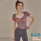 瑜伽服夏季 女健身衣舞蹈服訓練上衣跑步短袖夏運動t恤【風之海】