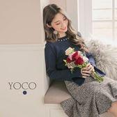 東京著衣【YOCO】優雅氣質珍珠裝飾袖開衩針織上衣-S.M.L(172648)