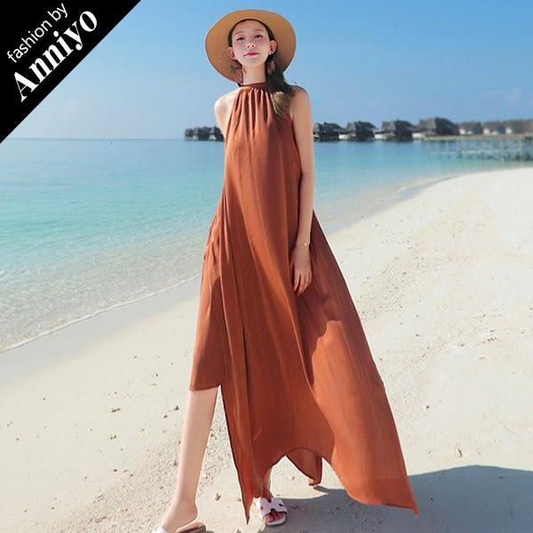 Anniyo安妞‧無袖圓領純色閃亮寬鬆絨雪紡雙邊開叉多穿法顯瘦海灘度假沙灘裙長裙長洋裝 焦糖色