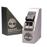 Timberland 仿舊金屬皮革穿式皮帶禮盒(黑色)859500