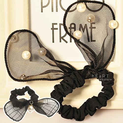 璀璨黑珍珠格子蝴蝶結髮圈 兒童髮飾 髮圈