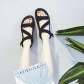 涼鞋女夏季新款韓版百搭ins超火學生平底厚底鬆糕鞋 居享優品