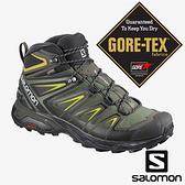 【SALOMON 法國】X ULTRA 3男GTX中筒登山鞋WIDE『灰綠/黑/硫綠』401295 越野鞋.健行鞋.多功能鞋