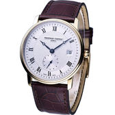 CONSTANT Slim Line系列 超薄時尚小秒針腕錶-金色款 FC-245M5S5