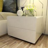 床頭櫃簡約現代白色亮光烤漆迷你環保歐式臥室邊櫃儲物櫃 igo  全館免運