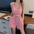 運動套裝 時尚休閒瑜伽健身跑步運動服套裝背心短褲兩件套女-Ballet朵朵