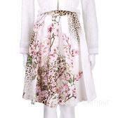 BLUGIRL 豹紋花朵百褶及膝裙(白色) 1510867-44