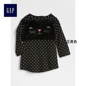 Gap女嬰兒 貓咪圖案圓領長袖T恤裙洋裝 375102- 正黑色