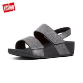 【FitFlop】MINA DENIM BACK-STRAP SANDALS 可調式釦環設計後帶涼鞋-女(靚黑色)