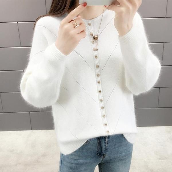 現貨特價 網紅超火套頭毛衣女秋冬新款韓版寬松百搭紐扣針織打底衫上衣