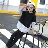 新款童裝女童打底衫秋季寬鬆蝙蝠袖T恤中大童條紋假兩件襯衫 全館滿千折百
