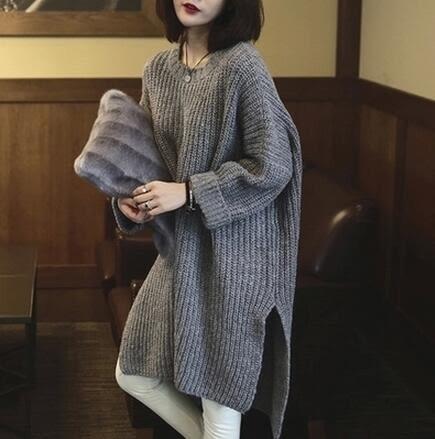 【TU11】長版毛衣 韓國前短後長下擺側開叉寬鬆粗針毛衣 針織衫 長版上衣6319
