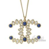 CHANEL AB1492 藍寶石水鑽鑲嵌雙C LOGO垂墜長項鍊.銀 全新 現貨【茱麗葉精品】