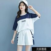 棉質運動服套裝女夏學生韓版寬鬆上衣顯瘦拼色短袖短褲休閒兩【全館免運】