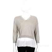 FABIANA FILIPPI 灰色雙材質拼接V領七分袖針織上衣 1620214-06