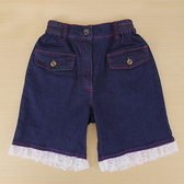 【愛的世界】彈性鬆緊帶蕾絲牛仔短褲-中國製- ---春夏下著 夏出清