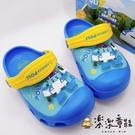 【樂樂童鞋】【台灣製現貨】POLI波力閃燈布希鞋 PO008 - 現貨 台灣製 涼鞋 男童鞋 拖鞋 布希鞋