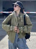 開學季外套女復古港味秋裝新款英倫風酷女孩穿搭帥氣短款工裝夾克   極有家