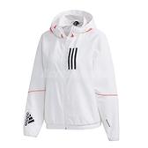 adidas 外套 W.N.D. Jacket 白 粉紅 女款 風衣 訓練 運動休閒 【ACS】 GF0131