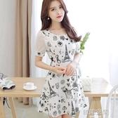 女裝韓版時尚短袖拼接氣質修身打底洋裝 韓語空間