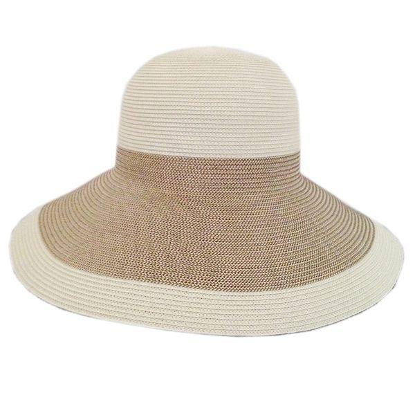 防曬UP!! MIT紙紗編織 雙色寬緣淑女帽 (兩種尺寸)