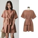 洋裝 韓版復古綁帶收腰短袖連身裙棉麻中長短裙 萬聖節鉅惠