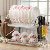 雙層碗架碗盤收納架餐具碗筷瀝水架晾放碗碟架廚房用品置物架落地 igo