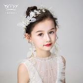 髮飾兒童髮飾耳環套裝女孩頭花花環頭飾髮帶花童頭飾髮夾女童演出飾品 1件免運