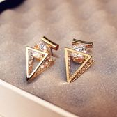 耳環 玫瑰金純銀鑲鑽-三角光面生日情人節禮物女飾品73ca128【時尚巴黎】