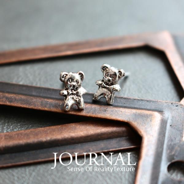 925純銀森林對話古著小熊針式耳環_質物日誌Journal