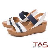 TAS 牛皮扣帶一字楔型涼鞋-清晰白