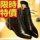 真皮短靴-經典有型素雅高跟女靴子1色62d49【巴黎精品】