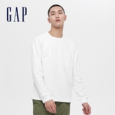 Gap男裝 基本款圓領厚磅休閒長袖T恤 660825-白色