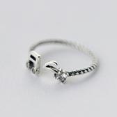 戒指 925純銀鑲鑽-可愛音符生日情人節禮物女開口戒73dt802【時尚巴黎】