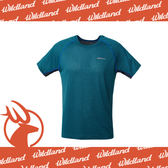 【Wildland 荒野 男 雙色拼接抗UV圓領上衣/L《土耳其藍》】0A61612-46/吸濕排汗/抗紫外線/短袖/登山